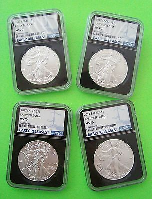 Four 2017 AMERICAN SILVER EAGLE NGC MS70 EARLY RELEASES BLACK CORE 1oz Coins WOW