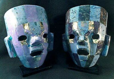 Two Rare Mexican Mayan Handmade Aztec Stone Mosaic Masks on Stand Semi-Precious