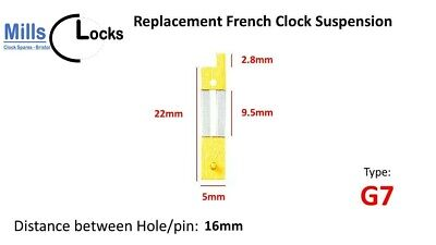 Brass French Clock Pendulum Suspension Spring. (22mm x 9.5mm x 5mm)  (Type G7)