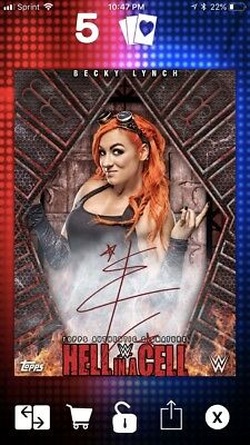 Topps WWE Slam Becky Lynch Hell In A Cell HIAC Red Signature Autograph 2017