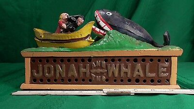 VINTAGE CAST IRON JONAH AND THE WHALE MONEY bank BOX,USED.