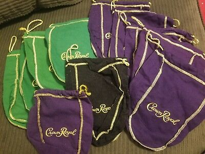 Crown Royal Bags Lot Of 12. Different colors.