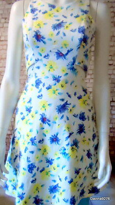 Zara Trafaluc floral white blue yellow open side sleeveless dress S 10 12