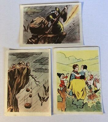 3 1939/40 SNOW WHITE DeBeukelaer Trading Cards with The Old Hag, Dwarfs & Prince