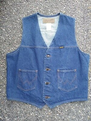 Vintage WRANGLER Men's Denim Blue Jeans Western Cowboy Vest Jacket LARGE Cotton