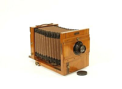 1885 Cesana Stereo & Mono Glass Plate Tailboard Camera * Antique Brass & Wood