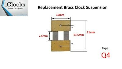 Brass Clock Pendulum Suspension Spring. (21mm x 7.5mm x 10mm)  (Type Q4)