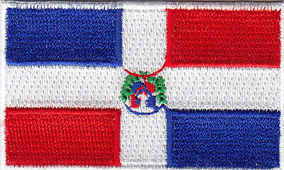 """1523 A63 Biker DOMINICAN REPUBLIC FLAG 3/"""" x 2/"""" iron on patch"""