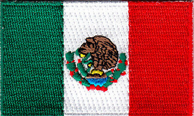 """MEXICO FLAG (2.5"""" x 1.5"""") Mexican National Flag Iron On Embroidered Patch"""