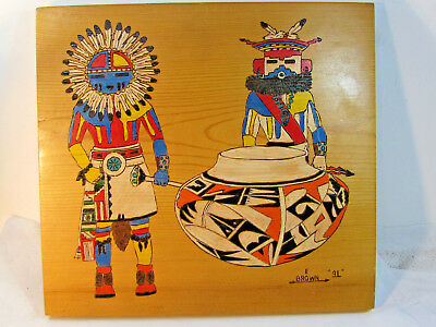 RARE Vintage Native American Painting Kachina, Pottery by E. Brown 1991 Signed