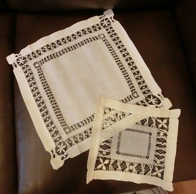 Lot of 2 Antique Vintage Ivory LINEN Doilies/Table Top Hand Drawn Threadwork