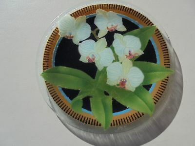 """Peggy Karr Signed Fused Glass Orchid Plate Tray 11 1/4"""" Excellent"""
