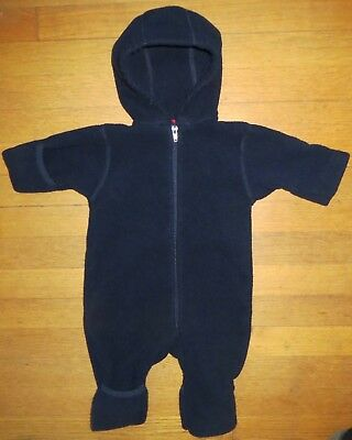 Lands End boy or girl 0-3 months hooded navy blue fleece bunting outfit~EUC~NICE