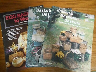 Lot of 3 Vintage/Retro Basket Weaving Pattern Leaflets