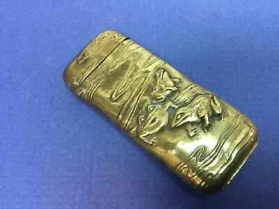 Vintage Japan Brass Vesta Case Match Safe 1930s Frogs in Stream