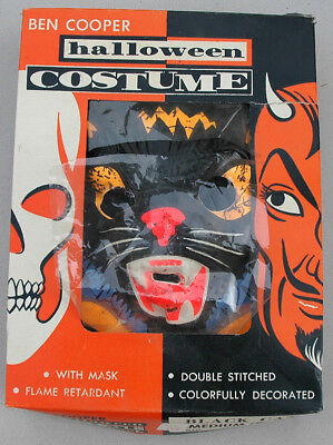 Vintage Ben Cooper Flashy the Cat Halloween Mask and Costume in Box c.1960's