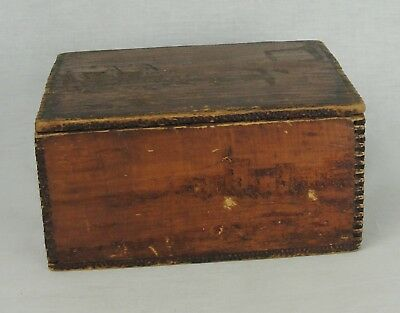 Antique Vintage  Hand Carved Scenes On Wooden Finger Jointed Box With Hnged Lid