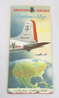 1950's Vintage American Airlines Flight System Map Airplane Art Poster