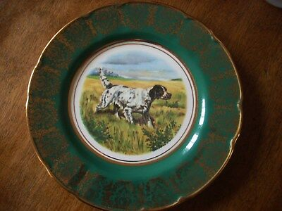 "Antique ARKLOW made Ireland 8"" plate English Setter Hunt gold trim plate superb"