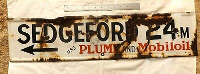 Enamel SEDGEFORD, QLD. Plume & Mobiloil Direction sign. Circa 1920. Rare!!!