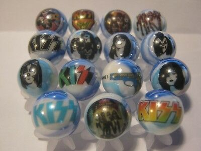 KISS ROCK N ROLL BAND glass marbles 5/8 size with stands