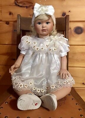 "Beautiful 28"" Realistic Baby Girl Toddler Doll Blond Hair/Blue Eyes 1999"