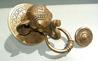 "heavy ELEPHANT trunk front Door Knocker SOLID  BRASS old style house nice 6"" B"