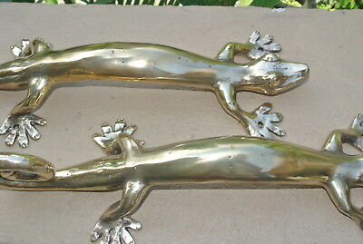 "2 GECKO DOOR PULLS 35cm POLSHED brass vintage old style house handle 14"" long B"