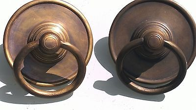 "2 large handle ring pull solid brass heavy old vintage age style DOOR 4"" bolt  B"