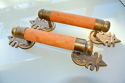 "2 large DOOR handle pull solid brass ends wooden old vintage asian style 15"" B"