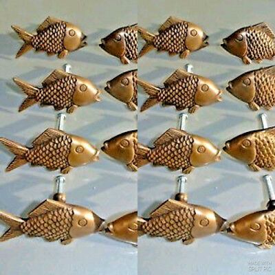"16 aged ANTIQUE old style FISH Cabinet Door solid Brass KNOB Drawer Pull 2"" B"