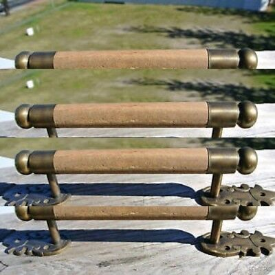 "4 DOOR handle pull solid brass ends wooden old vintage old style look 13"" raw B"