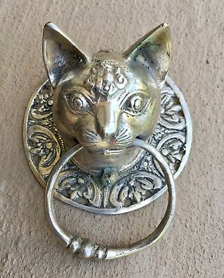 Cat head heavy Door handle SOLID brass  old style silver ring pull hook 10 cm  B