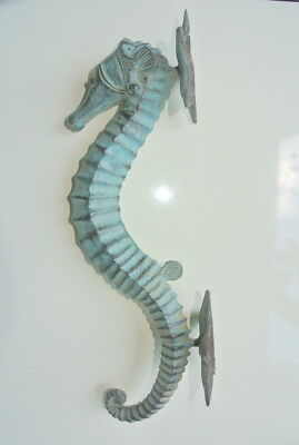 "seahorse DOOR PULLS 30cm seaside green brass vintage old style house handle 12""B"