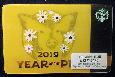 5 New Starbucks Chinese New Year Gift Card Year of Pig Boar
