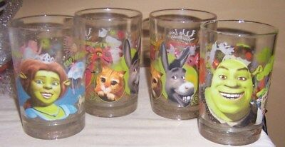 Set Of 4 Shrek The 3Rd Glasses Featuring Shrek, Fiona,  Donkey And Puss N Boots