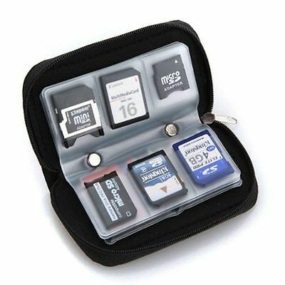 Micro SD SDHC CF Carrying Pouch Case Holder Memory Card Storage Wallet 22 Slots