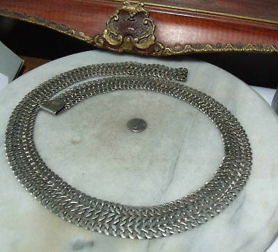 "Art Deco Vintage Sterling Silver Very Super Heavy Mexican Adjustable 31"" Belt"