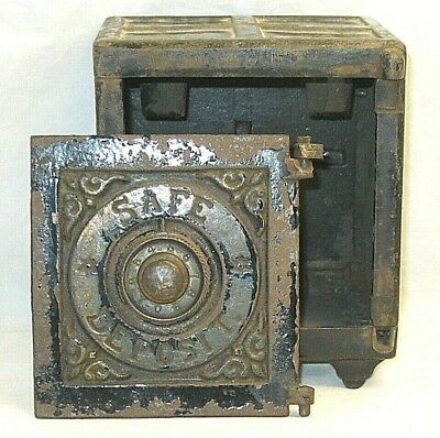 """Antique Henry C. Hart Cast Iron """"Safe Deposit"""" Bank - For Parts or Repair -"""