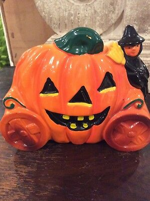 Vintage Rubens Witch on Jack O' Lantern Pumpkin Carriage Planter #6124