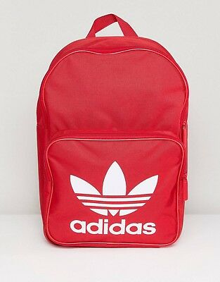 NEW ADIDAS ORIGINALS TREFOIL CLASSIC BACKPACK BAG RED   WHITE Book bag  School 2c7aef9ea0