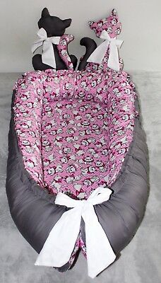 baby nest Sleeper Bedding double side with Toy Cats. portable infant sleeper