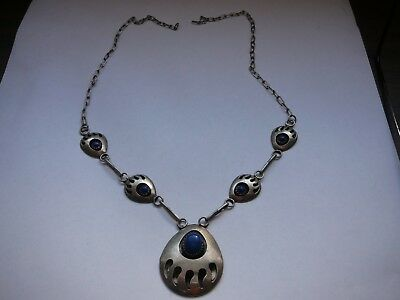Vintage Navajo Sterling Silver Bear Paw Lapis Lazuli Necklace