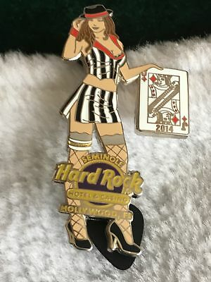 Hard Rock Cafe Pin Hollywood Fl Casino Hotel ~ Gambler Girl w Jack of Diamonds