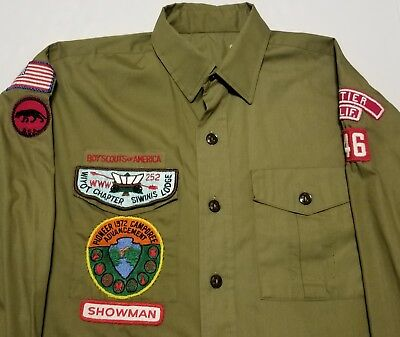 Vintage 1970s Boy Scouts of America Whittier Showman Patches Mens 15 Shirt
