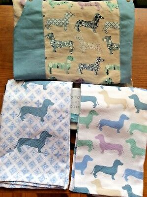 Matching 3 Piece Set - Dachshund Doxie Sausage Dog 2 Kitchen Towels and Apron