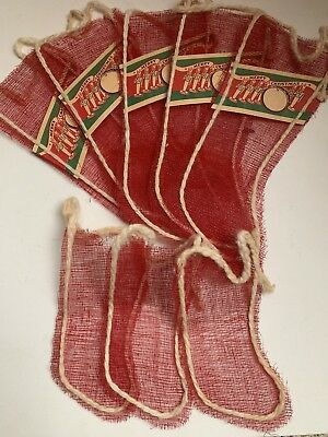 Vintage 1940s mesh Christmas Red stocking Lot Unused Rare You Soldiers Drum Wow!