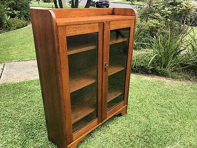 Antique Timber Wooden & Glass Display Cabinet