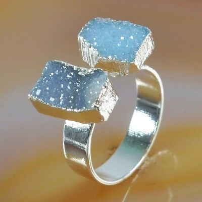 Size 8 Blue Agate Druzy Geode Ring Silver Plated T073600