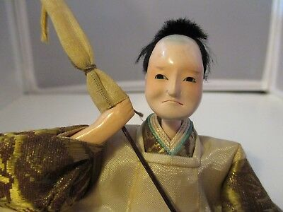 JAPANESE HINA DOLL very old antique original vintage with staff